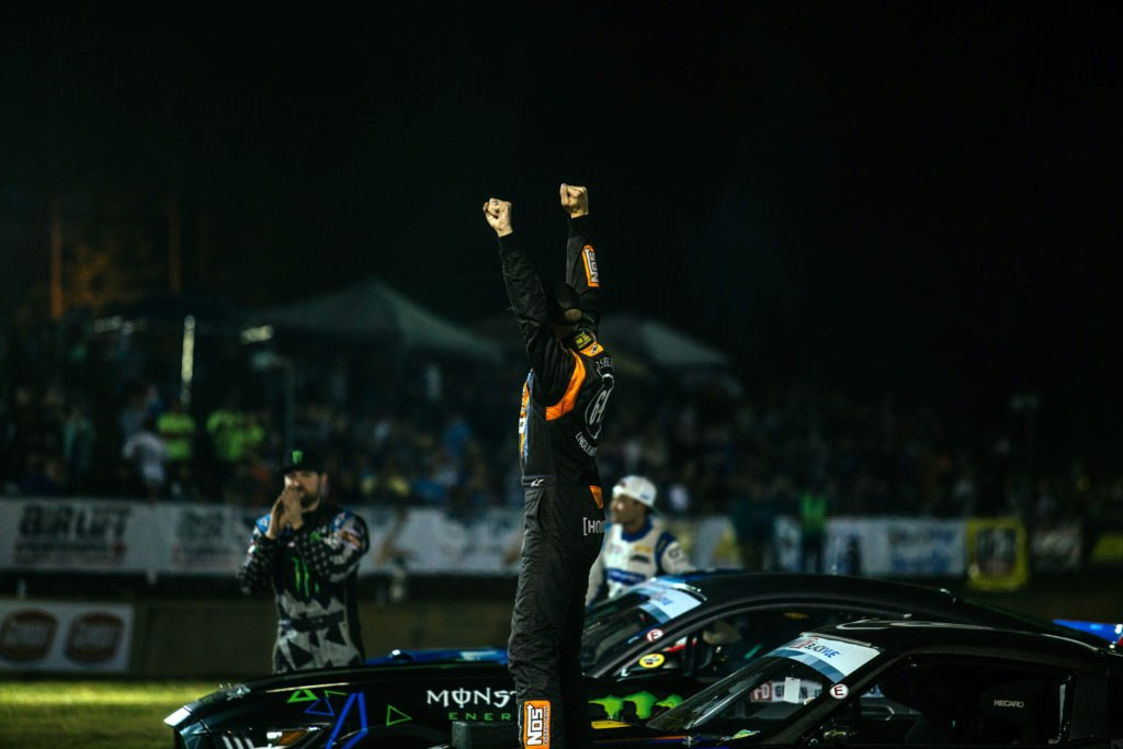 Chris Forsberg taking Voodoo13 Nissan 370z suspension arms to a win at Formula Drift Road Atlanta